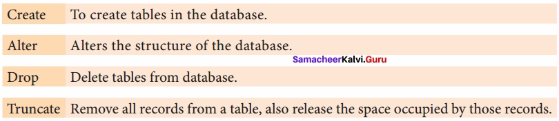 Samacheer Kalvi 12th Computer Science Solutions Chapter 12 Structured Query Language (SQL) img 5