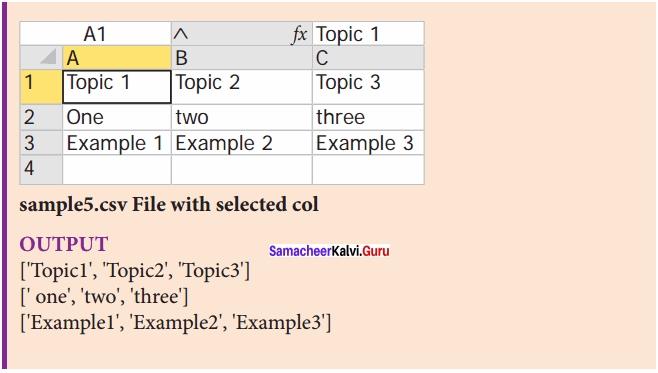 Samacheer Kalvi 12th Computer Science Solutions Chapter 13 Python and CSV Files img 27