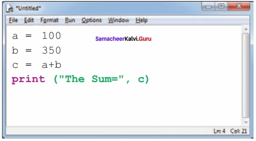 Samacheer kalvi 12th Computer Science Solutions Chapter 5 Python -Variables and Operators img 6